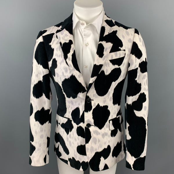 MOSCHINO F/W 14 Size 38 Black & White Print Cotton Velvet Sport Coat