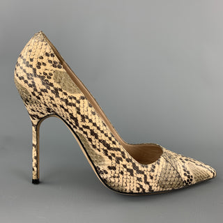MANOLO BLAHNIK Size 8 Natural Phython Skin Pumps