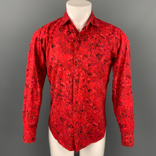 AGNES B. Size S Red Print Cotton Button Up Long Sleeve Shirt