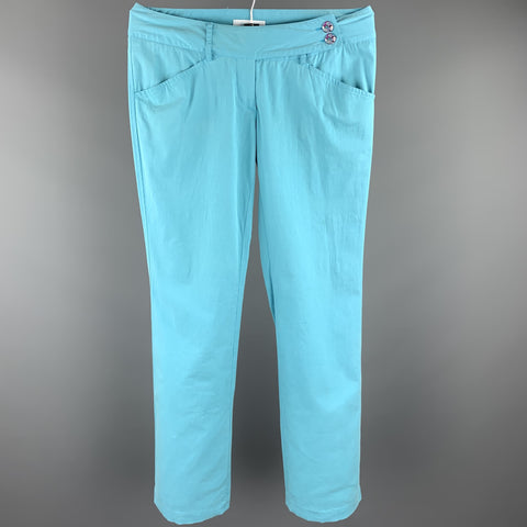 EMILIO PUCCI Size 6 Turquoise Cotton Straight Leg Casual Pants