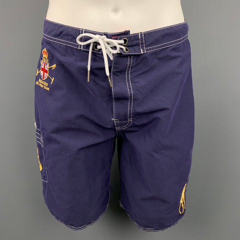 POLO by RALPH LAUREN Size S Navy Contrast Stitch Cotton / Nylon Shorts