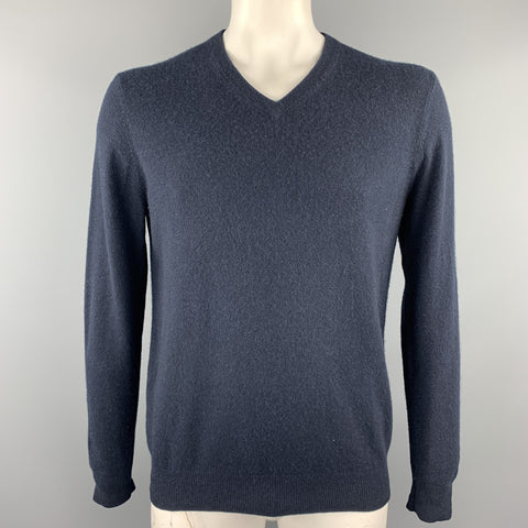 NEIMAN MARCUS Size L Navy Cashmere V-Neck Pullover