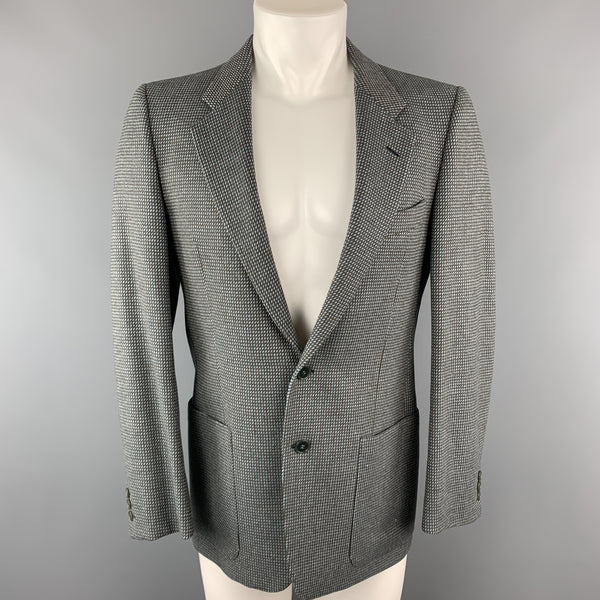 Vintage VALENTINO 38 Regular Taupe Grey Nailhead Wool / Cashmere Notch Lapel Patch Pockets Sport Coat