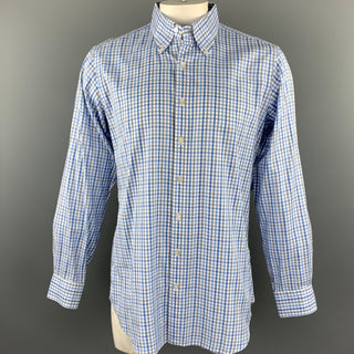 HAMILTON Size L Light Blue Plaid Cotton Button Down Long Sleeve Shirt