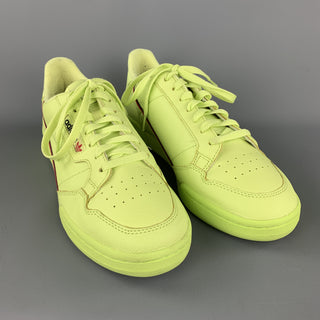 ADIDAS Size 10.5 Neon Green Solid Leather Lace Up Sneakers