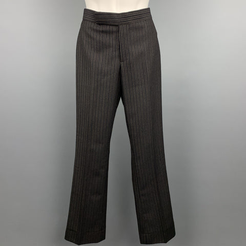 RALPH LAUREN COLLECTION Size 2 Black & Grey Striped Wool Dress Pants