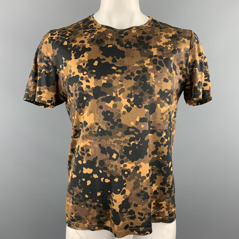 BURBERRY PRORSUM Size L Brown & Black Camouflage Cotton Crew-Neck T-shirt