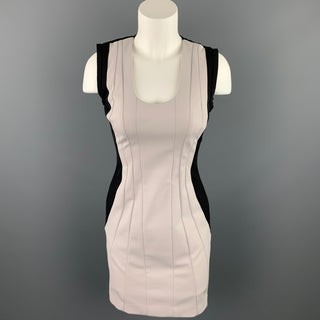 DIANE VON FURSTENBERG Size 2 Cream & Black Pleated Polyamide Sheath Dress