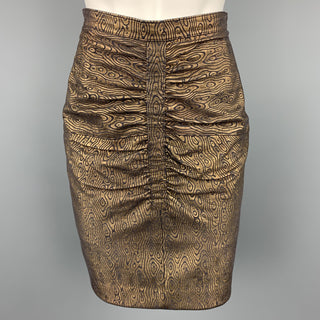 HARRODS Size 8 Black & Gold Abstract Leather Ruched Skirt