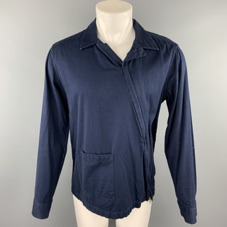 GANT RUGGER Size M Navy Cotton Asymmetrical Zip Up Long Sleeve Shirt