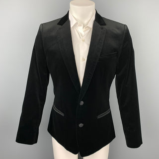 DOLCE & GABBANA Size 40 Black Cotton Velvet Notch Lapel Sport Coat