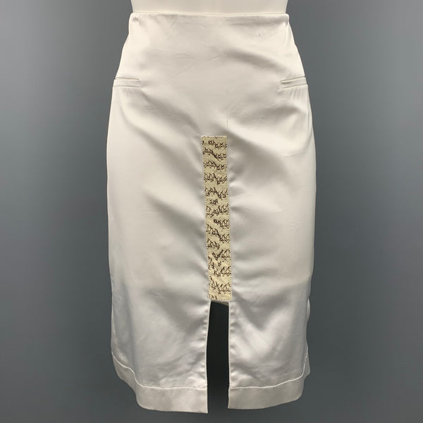 ALTUZARRA Size 10 White Satin Acetate Blend Pencil Skirt