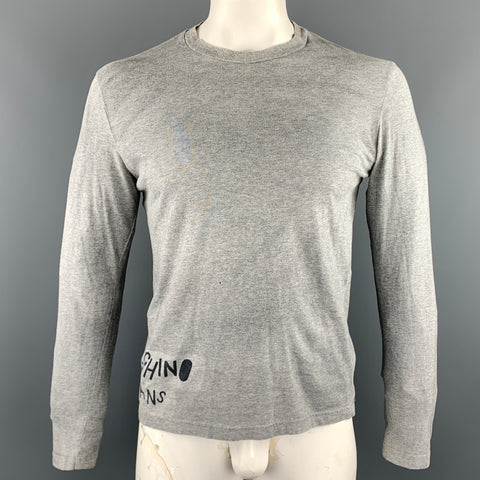 MOSCHINO JEANS Size L Grey Print Cotton Crew-Neck Long sleeve t-shirt