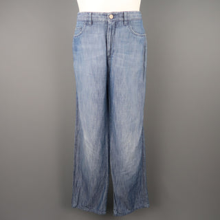 BRIONI Size 32 x 30 Blue Light Weight Cotton / Linen Straight Leg Jeans