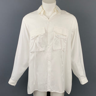 Y's by YOHJI YAMAMOTO Size S White Cotton Patch Pockets Long Sleeve Shirt