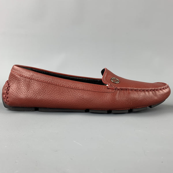 GUCCI Size 8 Brick Leather Pebble Grain Driver Loafers
