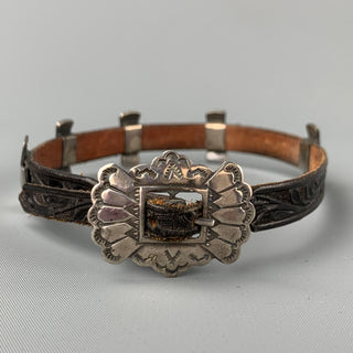 ADRIENNE TEEGUARDEN Black & Silver Tone Embossed Leather Metal Western Bracelet