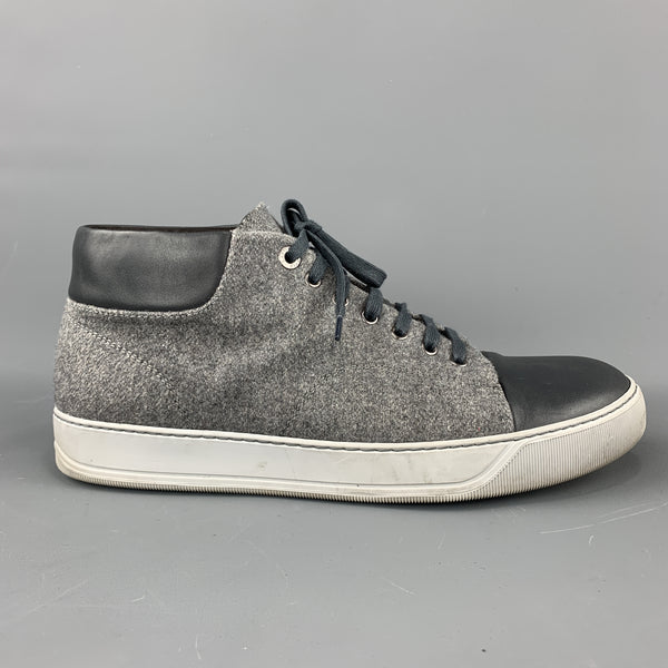 LANVIN Size 11  Gray Wool Lace Up Leather Cap Toe Sneakers