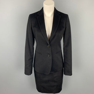 MAX MARA Size 4 Black Material Pencil Skirt Suit