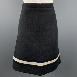 MARNI Size 6 Charcoal Stripe Wool Blend A-Line Skirt