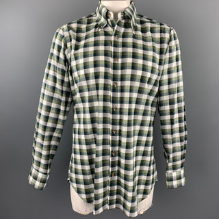 HAMILTON Size L Olive Plaid Cotton Button Down Long Sleeve Shirt