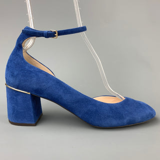 COLE HAAN Size 10 Blue Suede Ankle Strap Pumps