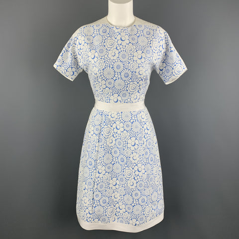 THOM BROWNE Size 2 White Floral Textured Blue Panel Structured Dress Spring 2013