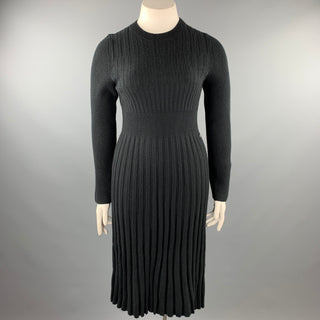 CHANEL Size 10 Black Knitted Pleated Wool Crew-Neck Sweater Dress