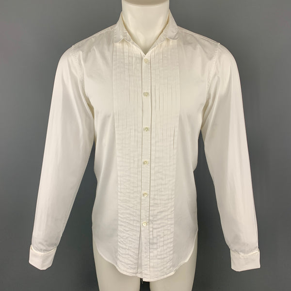 BURBERRY Size S White Cotton Pleated Double Collar Button Up Long Sleeve Shirt