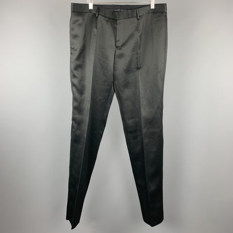BURBERRY PRORSUM Size 38 Black Shiny Twill Flat Front  Dress Pants