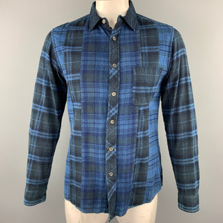 BLUE BLUE JAPAN Size XL Navy Plaid Cotton Button Up Long Sleeve Shirt
