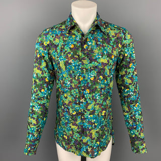 DRIES VAN NOTEN S/S 20 Size XS Green & Blue Beaded Viscose Button Up Long Sleeve Shirt