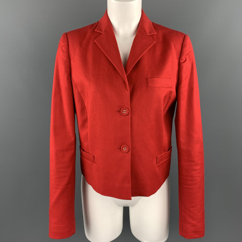 VALENTINO RED Size 8 Red Stretch Cotton Cropped Blazer