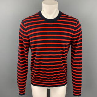 PS by PAUL SMITH Size M Navy & Orange Stripe Cotton Crew-Neck Pullover Sweater