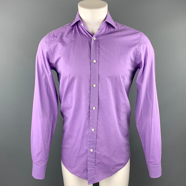 RALPH LAUREN Black Lable Size S Purple Cotton Long Sleeve Shirt
