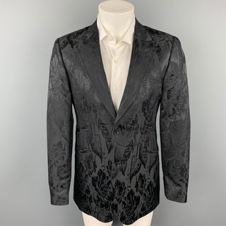 TED BAKER Size 38 Regular Black Jacquard Wool / Silk Peak Lapel Sport Coat