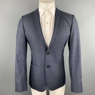 REISS Size 36 Short Blue Wool Notch Lapel Suit