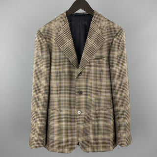 UNITED ARROWS Brown Plaid Wool Notch Lapel Sport Coat
