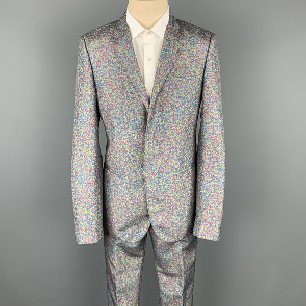 CALVIN KLEIN COLLECTION Size 38 Multi-Color Spotted Polyester Notch Lapel Suit