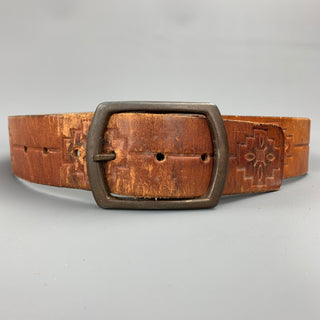 VINTAGE Size 32 Tan Embossed Hand Painted Leather Belt