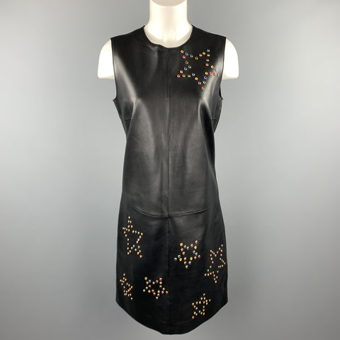 ESCADA Size 6 Black Leather Colored Gem Star Studded Shift Dress