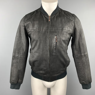 LEVI'S Size S Black Distressed Leather Zip Up Bomber Jacket
