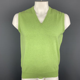BALLANTYNE Size XL Light Green Cashmere V-Neck Sweater Vest