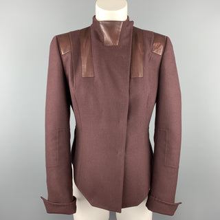 AKRIS Size 8 Burgundy Cashmere Leather Panel High Neck Jacket