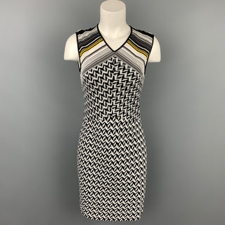 MISSONI Size 4 Black & White Zig Zag Knit Sleeveless Dress