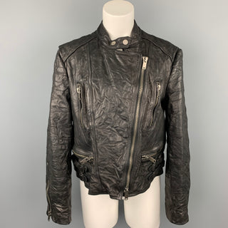 RALPH LAUREN Size XL Black Textured Leather Motorcycle Jacket