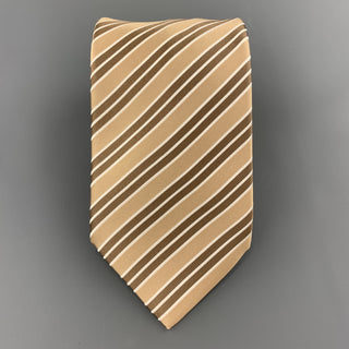 BRIONI Beige & Brown DIagonal Striped Silk Tie