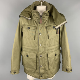 BURBERRY PRORSUM Resort 2013 Size 42 Olive Cotton Zip & Snaps High Collar Hooded Jacket