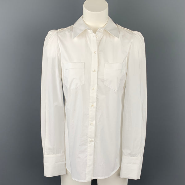 TARA JARMON White Poplin Cotton Buttoned Open Back Blouse