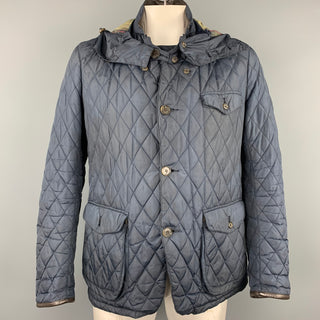BARBOUR Limited Edition by TOKITO Size L Navy Quilted Poliammide Detachable Hood Jacket